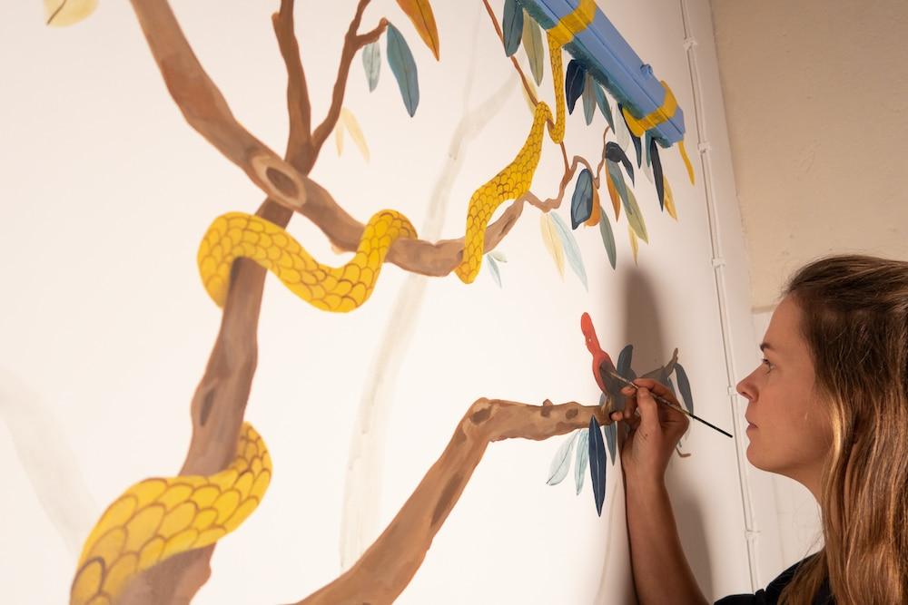 Wandmalerei im neuen Atelier